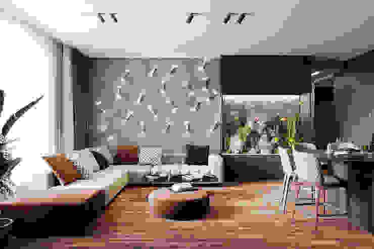 Projekty,  Salon zaprojektowane przez Студия архитектуры и дизайна Дарьи Ельниковой, Minimalistyczny