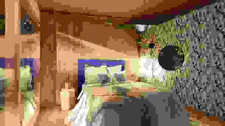 Recámara Principal Eva Arceo Interiorismo Dormitorios tropicales Madera Azul