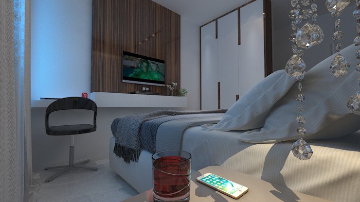 2bhk Residence with a Pragmatic Taste, Mumbai:  Bedroom by Sagar Shah Architects,
