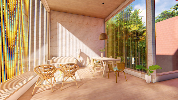 Eva Arceo Interiorismo Tropical style living room Wood White