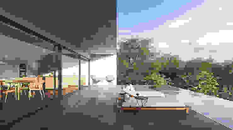 Balcones y terrazas minimalistas de FMO ARCHITECTURE Minimalista Cerámico
