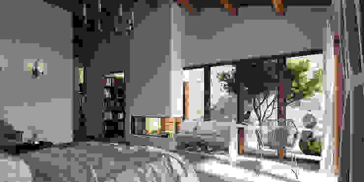 Vivienda unifamiliar aislada (Teruel).: Dormitorios de estilo  de Bau Arquitectura Tarragona, Rústico
