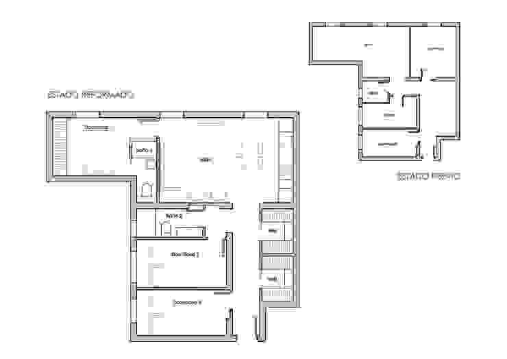 Antes y despu´és de piso en barrio de Hispanoamérica de Reformmia Moderno
