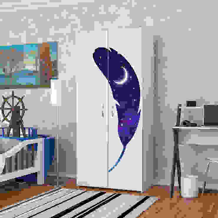 Candy Mobilyam – Galaksi Temalı Kaz Tüyü Figürlü Baskılı Gardırop:  tarz Yatak Odası,