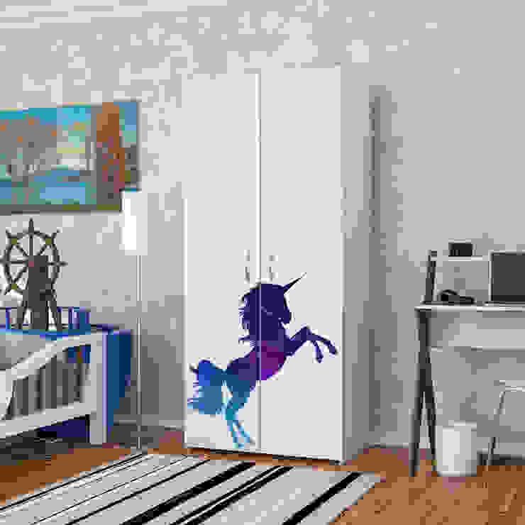 Candy Mobilyam – Galaksi Temalı Unicorn Atı Figürlü Baskılı Gardırop:  tarz Yatak Odası,