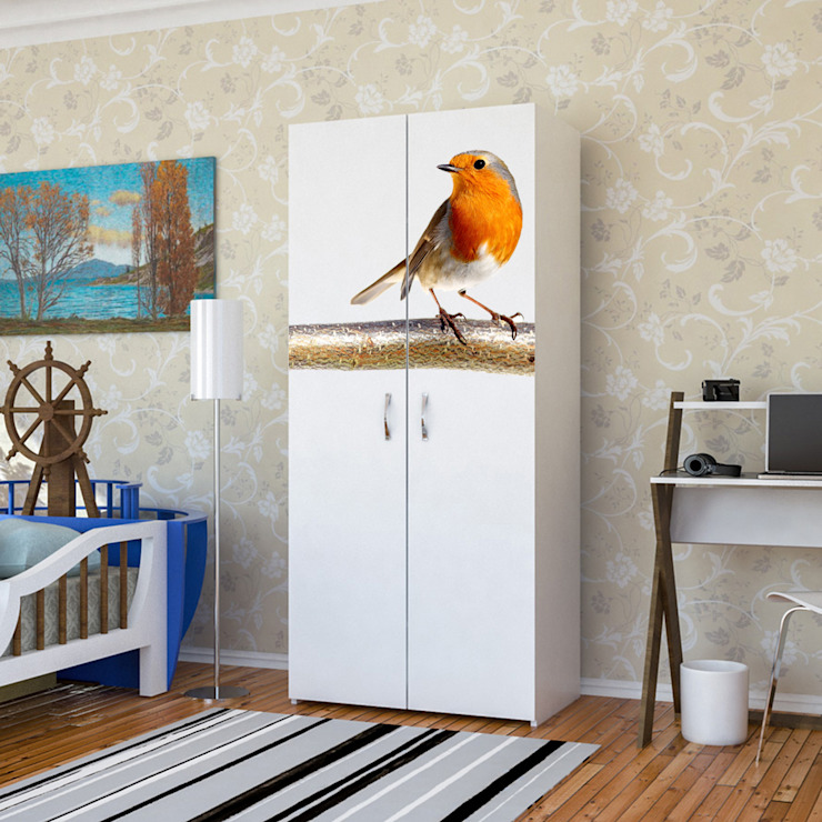 Candy Mobilyam – Kuş Resimli Baskılı Gardırop: modern tarz , Modern Yönlendirilmiş Yonga Levha