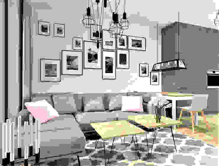 Wkwadrat Architekt Wnętrz Toruń ラスティックデザインの リビング MDF 灰色