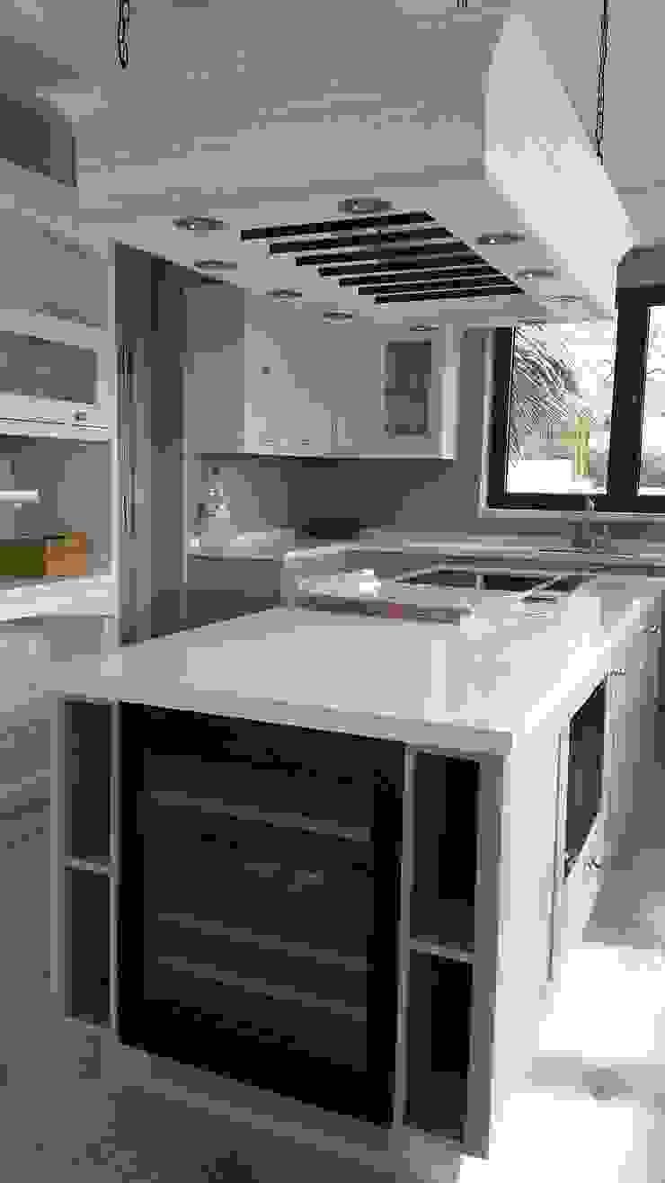 Encimera Silestone y Modulo suspendido con focos led y barras para colgar de Decodan - Estudio de cocinas y armarios en Estepona y Marbella Clásico Cuarzo
