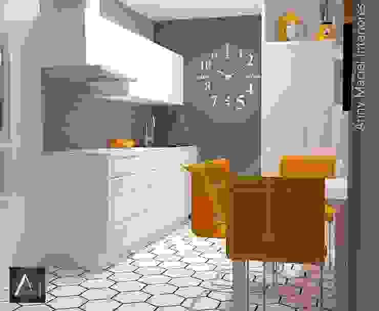 Cozinha Moderna BCS com toque retrô Anny Maciel Interiores - Casa Cor de Riso CozinhaArmários e estantes MDF Branco