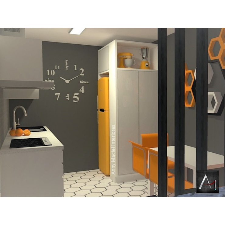 Cozinha Moderna BCS com toque retrô Anny Maciel Interiores - Casa Cor de Riso Cozinhas pequenas Amarelo