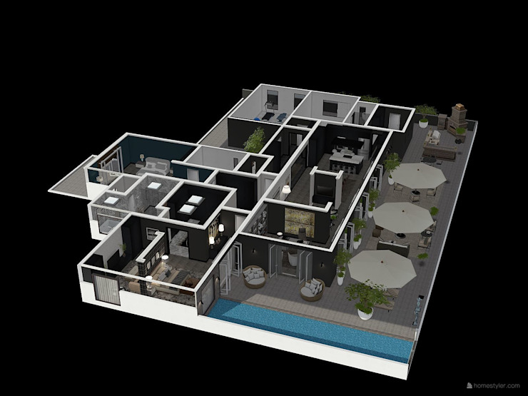 Aerial view over Patio and Living Areas by CKW Lifestyle Associates PTY Ltd Modern