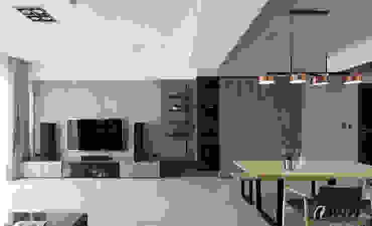 客廳收納櫃 现代客厅設計點子、靈感 & 圖片 根據 元作空間設計 現代風