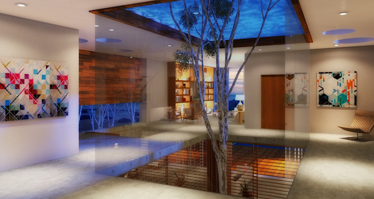 Pasillos y vestíbulos de estilo  por Viviane Cunha Arquitetura