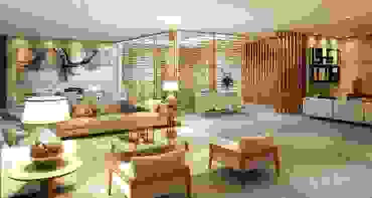Salas / recibidores de estilo  por Viviane Cunha Arquitetura