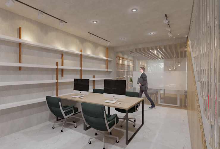 Staff Area- 1st Floor Ruang Studi/Kantor Gaya Industrial Oleh TIES Design & Build Industrial