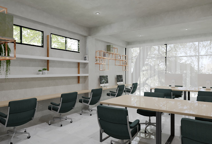 Staff Area- 2nd Floor Ruang Studi/Kantor Gaya Industrial Oleh TIES Design & Build Industrial