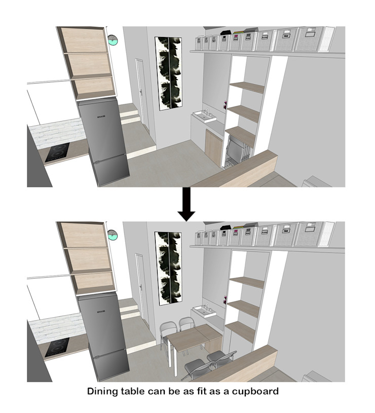 Dining Table Transformation Oleh TIES Design & Build Minimalis