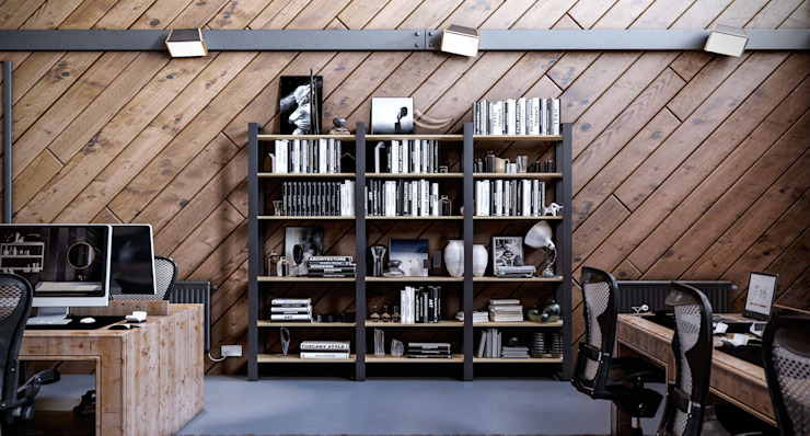 Libreria ufficio Outline Studio moderno di Damiano Latini srl Moderno Alluminio / Zinco