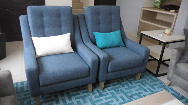 Espacio M Modern Living Room Wood Blue