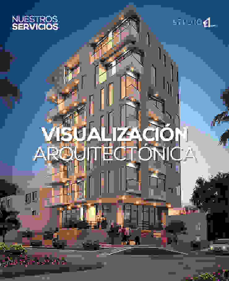 Visualización Arquitectónica Casas estilo moderno: ideas, arquitectura e imágenes de Studio 1:1 Arquitectura Moderno