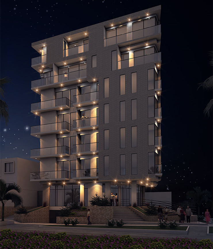 Fachada edificio - NOCHE de Studio 1:1 Arquitectura Moderno