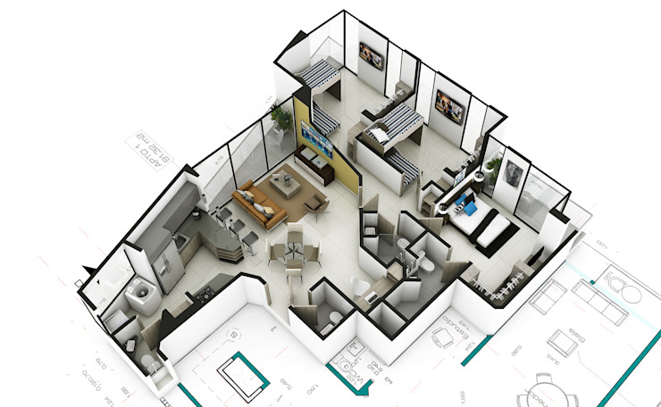 Propuesta Apto 2 de Studio 1:1 Arquitectura Moderno