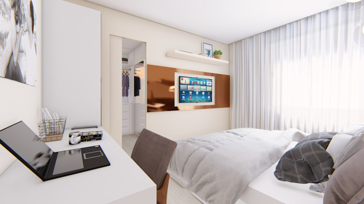 Quarto Casal - Painel TV por Fark Arquitetura e Design Moderno MDF