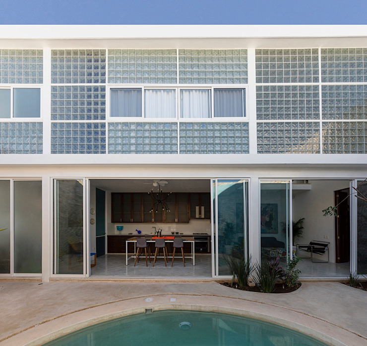 Taller Estilo Arquitectura Small houses Glass Blue