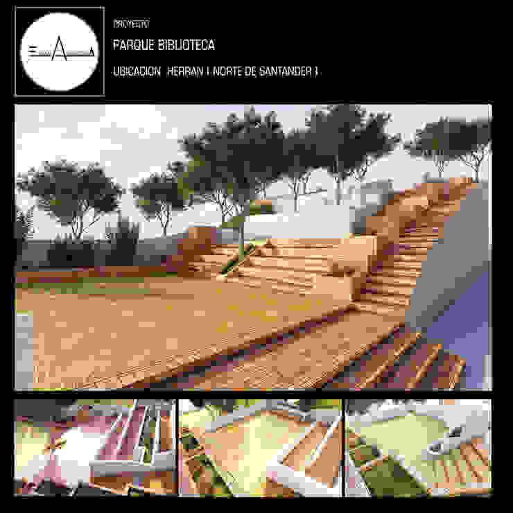 PARQUE BIBLIOTECA Balcones y terrazas de estilo minimalista de ESQUEMA ARQUITECTURA Minimalista Ladrillos