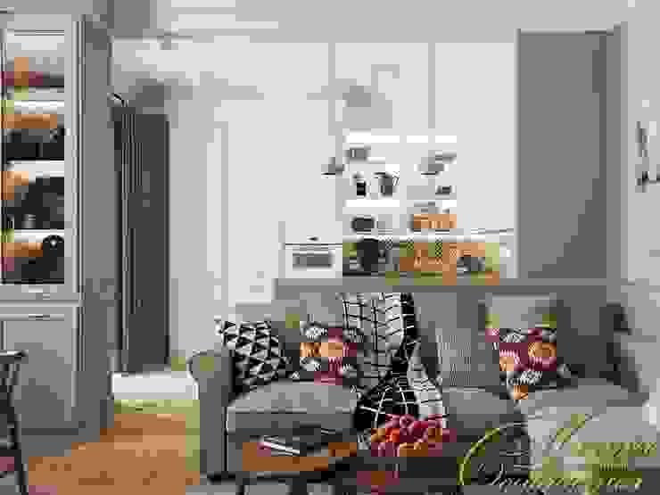 Дыхание ХХ века: кухня-гостиная Гостиная в стиле минимализм от Компания архитекторов Латышевых 'Мечты сбываются' Минимализм