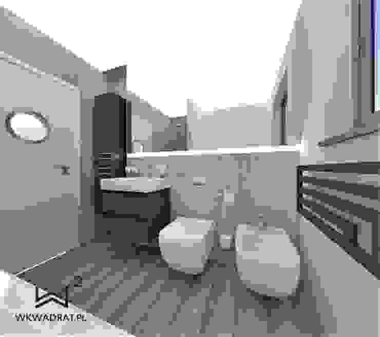 Łazienka beton i drewno Skandynawska łazienka od Wkwadrat Architekt Wnętrz Toruń Skandynawski Beton