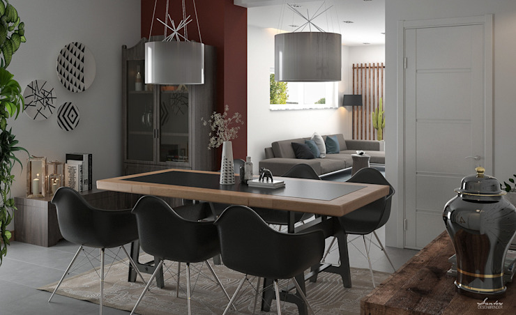 Industrial style dining room by Santoro Design Render Industrial