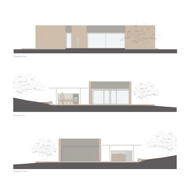 Xlam wooden house perspective drawing por ALESSIO LO BELLO ARCHITETTO a Palermo Moderno
