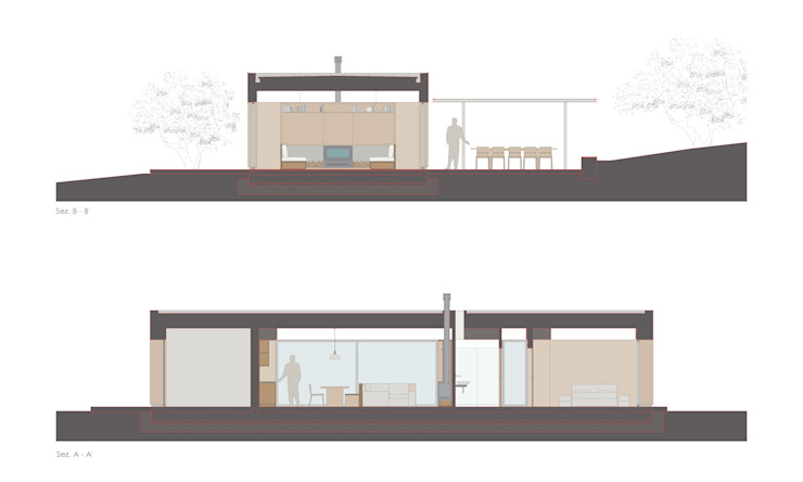 Xlam wooden house sections plan por ALESSIO LO BELLO ARCHITETTO a Palermo Moderno