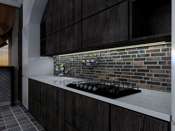 Кухня с кирпичным фартуком от Студия Ольги Таракановой Эклектичный Дерево Эффект древесины