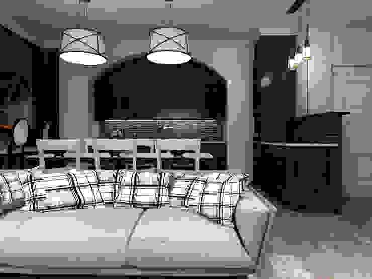 Кухня - гостиная с зоной для видеоигр Гостиные в эклектичном стиле от Студия Ольги Таракановой Эклектичный Дерево Эффект древесины