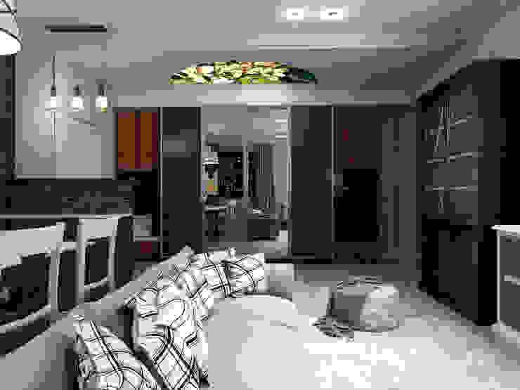 Потолочный витраж в прихожей Гостиные в эклектичном стиле от Студия Ольги Таракановой Эклектичный Кирпичи