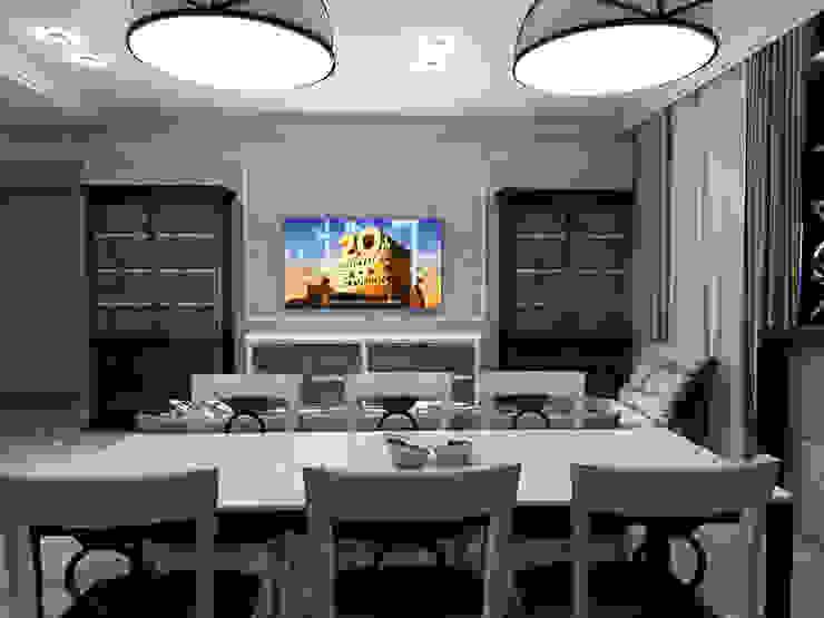 Обеденная зона в кухне - гостиной от Студия Ольги Таракановой Эклектичный Дерево Эффект древесины