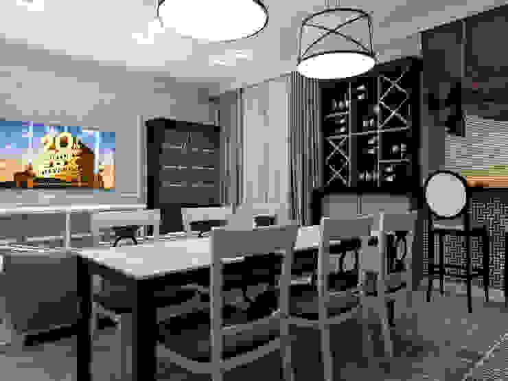 Винный шкаф за обеденным столом Кухни в эклектичном стиле от Студия Ольги Таракановой Эклектичный Дерево Эффект древесины