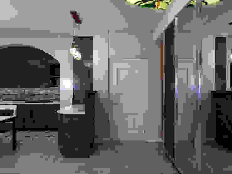 Прихожая отделенная барной стойкой Коридор, прихожая и лестница в эклектичном стиле от Студия Ольги Таракановой Эклектичный Дерево Эффект древесины
