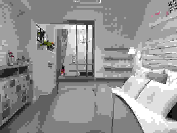 Спальная с кабинетом на лоджии от Студия Ольги Таракановой Эклектичный Кирпичи