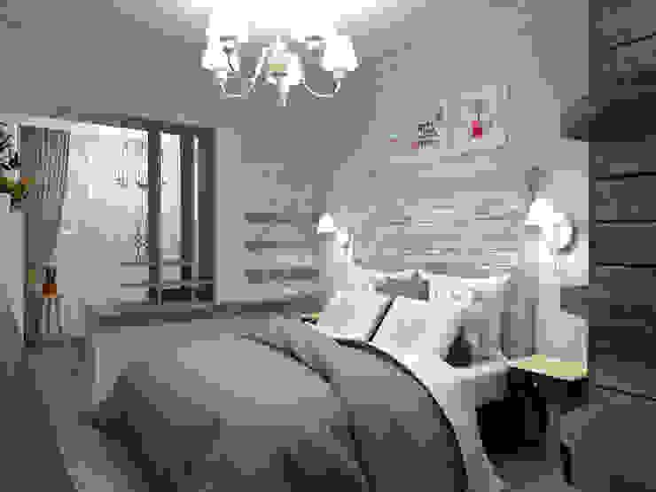Двуспальная кровать с деревянным изголовьем от Студия Ольги Таракановой Эклектичный Дерево Эффект древесины