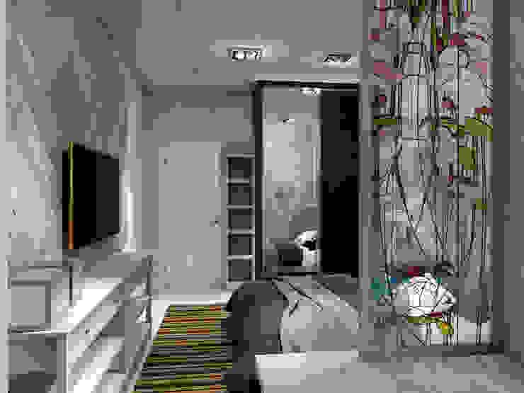 Спальная с кабинетом разделены витражём от Студия Ольги Таракановой Эклектичный Дерево Эффект древесины