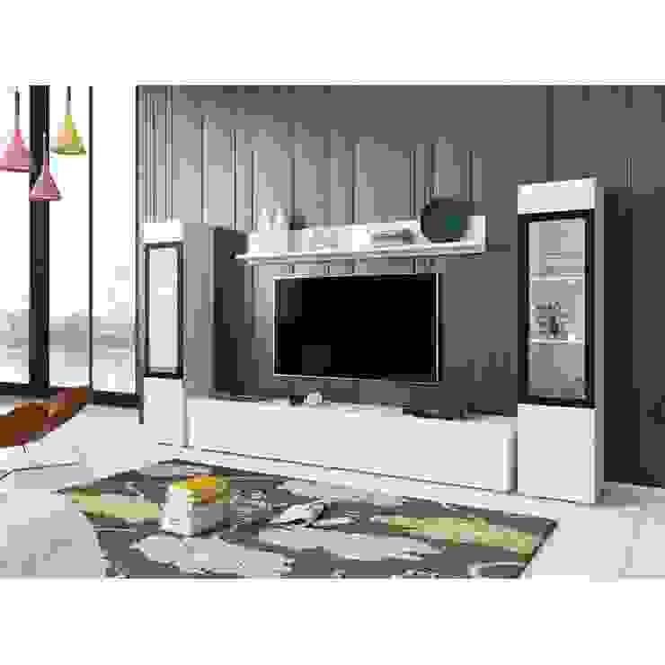 Meble modułowe do salonu - białe VERA II: styl , w kategorii  zaprojektowany przez Meble Minio,Nowoczesny
