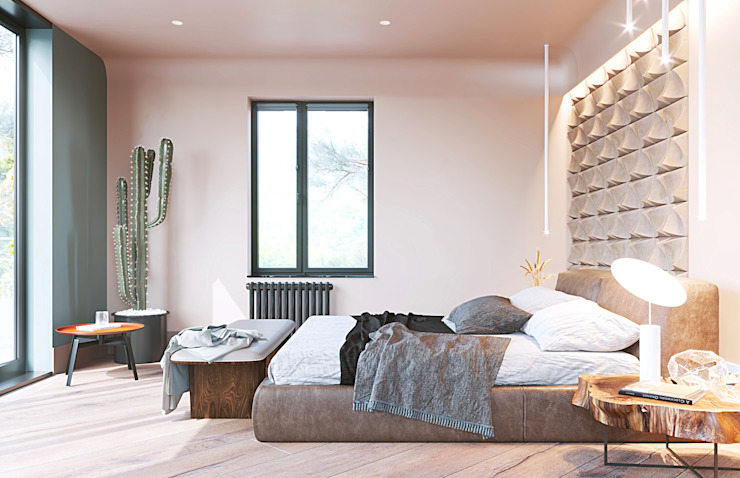 Студия Дизайна Виктории Королевой Minimalist bedroom Beige
