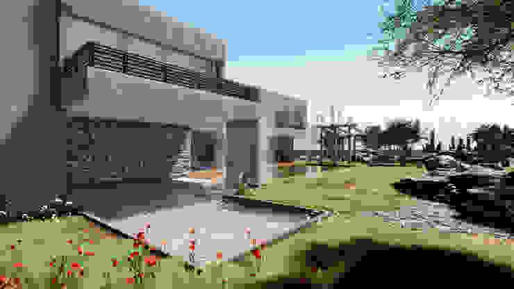 Vista exterior Fachada y detalle en piedra Casas estilo moderno: ideas, arquitectura e imágenes de CR.3D Modeling & Rendering Moderno Concreto reforzado