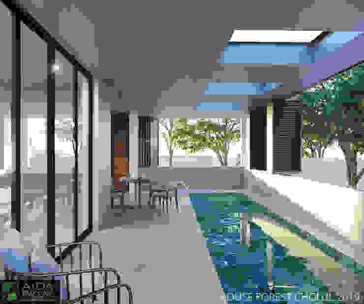 TERRAZA Y PISCINA FOREST HOUSE Balcones y terrazas de estilo moderno de AIDA TRACONIS ARQUITECTOS EN MERIDA YUCATAN MEXICO Moderno