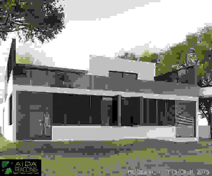 FACHADA TRASERA FOREST HOUSE Casas modernas de AIDA TRACONIS ARQUITECTOS EN MERIDA YUCATAN MEXICO Moderno