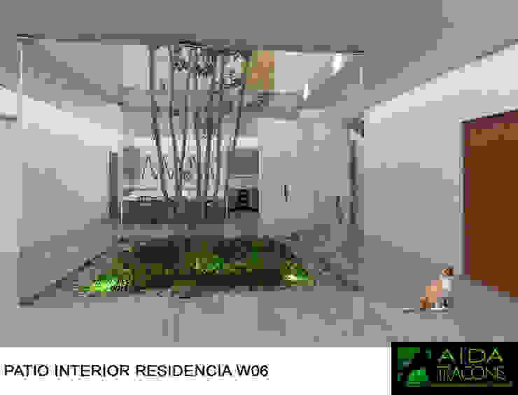 PATIO INTERIOR YCC-W06: Estanques de jardín de estilo  por AIDA TRACONIS ARQUITECTOS EN MERIDA YUCATAN MEXICO, Moderno
