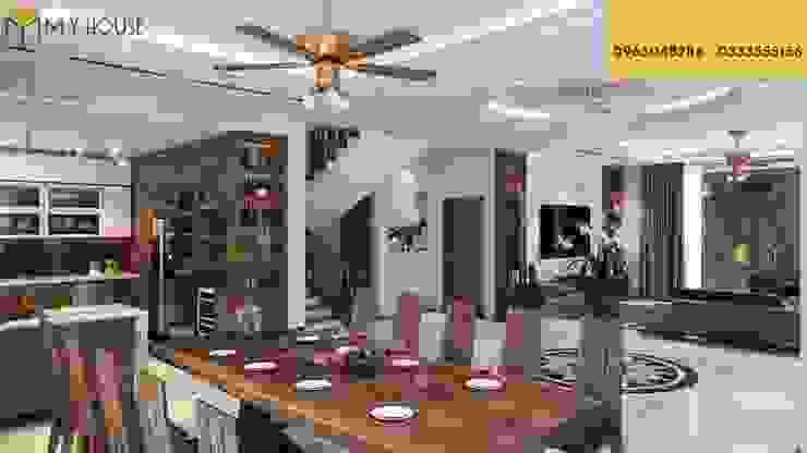Mẫu thiết kế biệt thự gỗ óc chó Phòng ăn phong cách hiện đại bởi Nội Thất My House Hiện đại Đá sa thạch